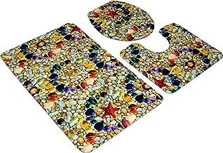 3 Pcs/Set Bathroom Anti-Slip Pedestal Rug Plus Lid Toilet Cover Plus Bath Mat(Multi Color Stone), Fiber