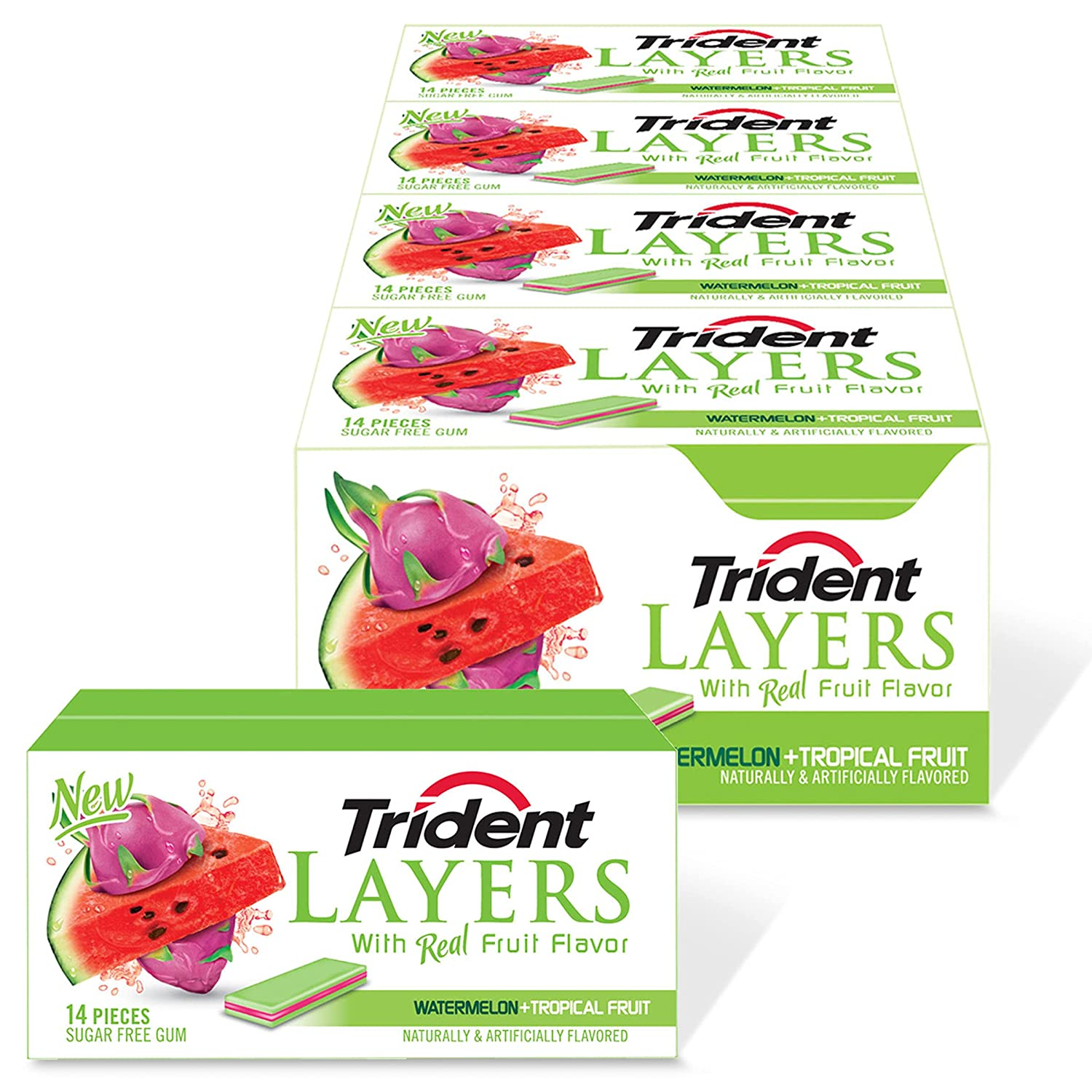Trident Layers Sugar Free Gum, Watermelon & Tropical Fruit, 168 Count (Pack of 12)
