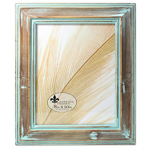 4b980935755 Lawrence Frames 8x10 Weathered Wood with Verdigris Wash Picture Frame