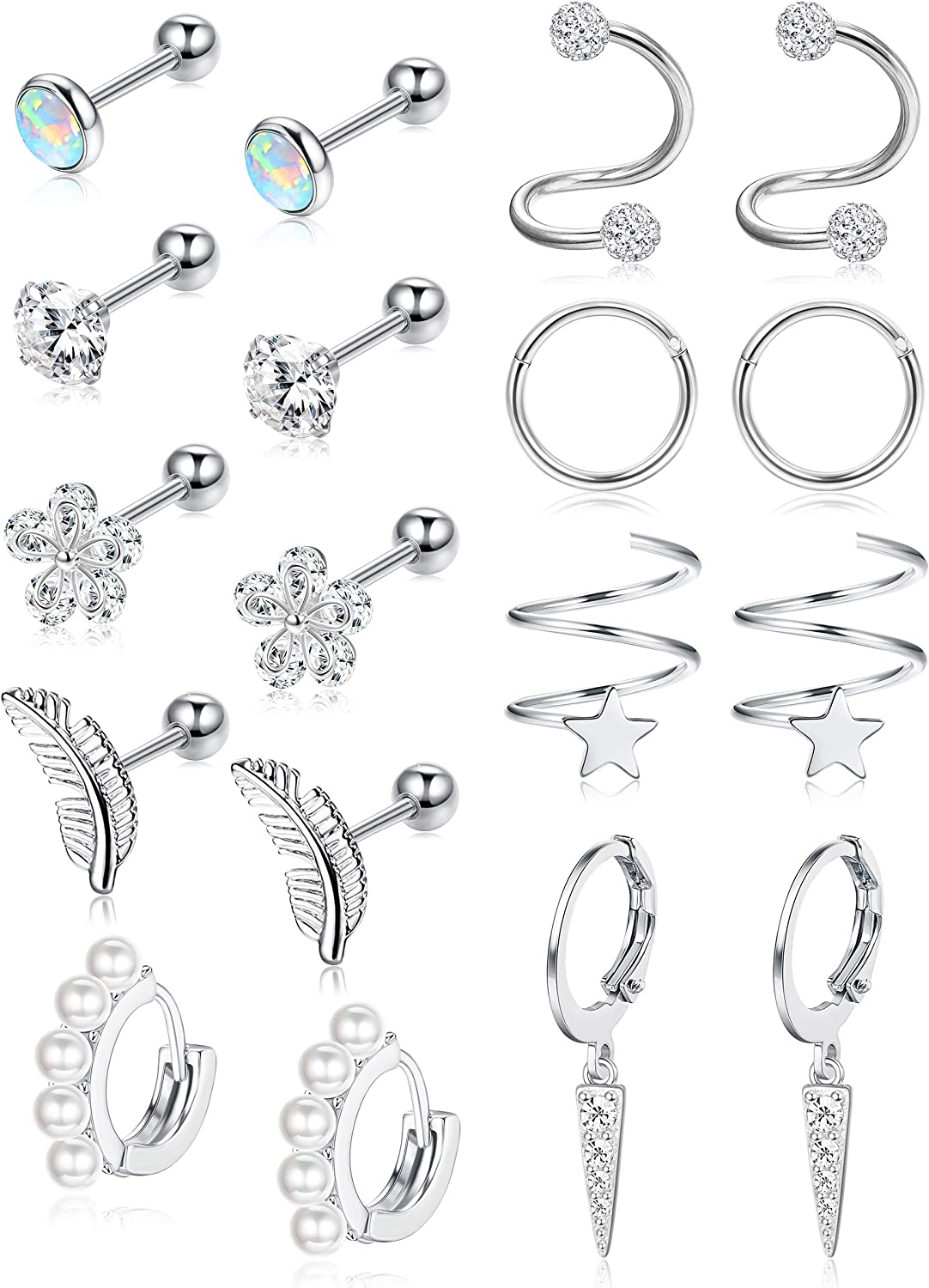 Subiceto 9 Pairs Cartilage Earrings Stud Set for Women Men 16G 18G 20G Tragus Earrings Cubic Zirconia Inlaid Helix Hoop Jewelry Flower Feather Earrings Hoop Cartilage Piercing CZ Stud Earrings