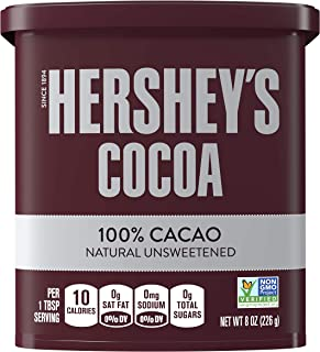 HERSHEY'S Natural Unsweetened 100% Cocoa Cocoa, Easter Baking Supplies, 8 oz Can (6 Count)