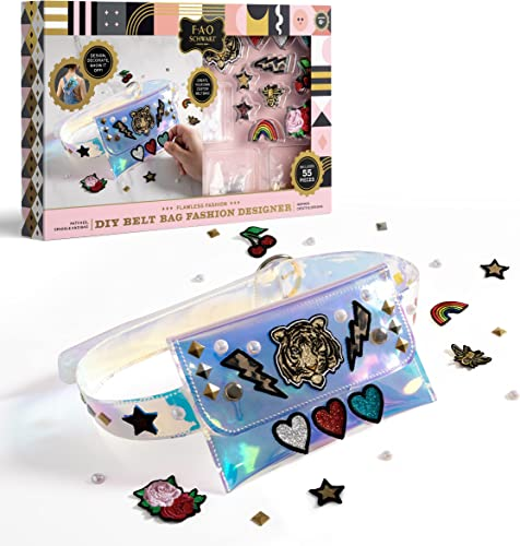 2021 FAO Schwarz Girls DIY Belt Bag Rhinestone Gold and Silver Stud high quality Craft Kit with Embroidered 2021 Patches sale