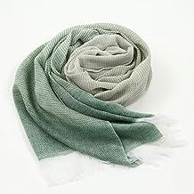 くーる&ほっと 織都桐生市で織った 高吸湿 良通気性 アウトドア綿麻ストール (緑)
