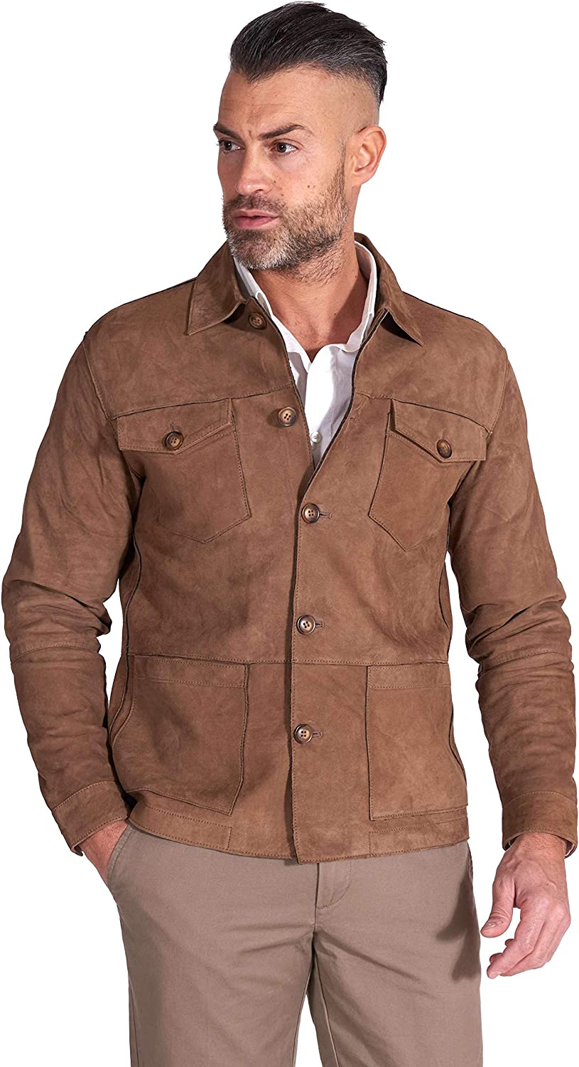 Tan suede leather jacket bonded fabric lining