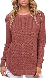 BerryGo Women's Casual Long Sleeve Side Split Knit Pullover Sweater Jumper