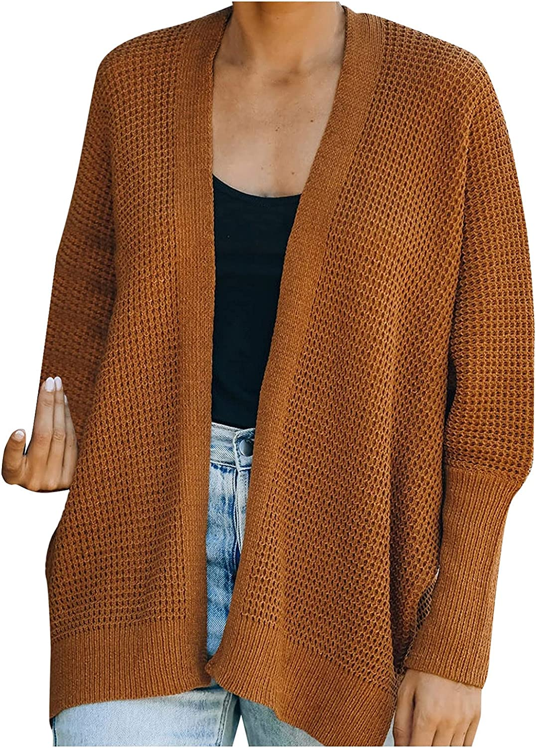 Women Waffle Cardigan Sweater Cuffed Sleeves Open Front Knitted Coat Long-Sleeved Short Outwear Coat by Pocciol