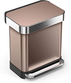 simplehuman 30 Liter / 8 Gallon Stainless Steel Rectangular Kitchen Step Trash Can with Liner Pocket, Rose Gold Stainless Steel