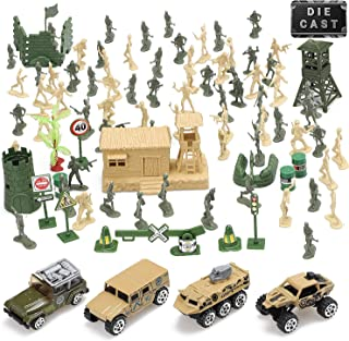 Toy Life Plastic Army Men Plus Die Cast Military Toy Vehicles Play Set   100pc Piece Army Toys Gift Set for Boys   Includes Toy Soldiers Army Base Toy Props Plus 4 Diecast Military Toy Vehicles