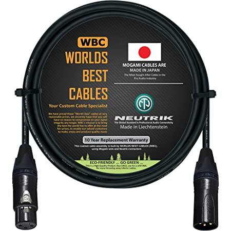 6 Foot - Balanced Microphone Cable CUSTOM MADE By WORLDS BEST CABLES - using Mogami 2549 (Black) wire and Neutrik NC3MXX-B & NC3FXX-B Gold XLR Plugs