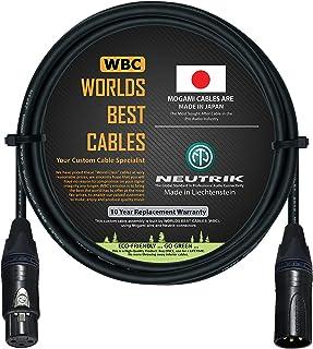 Cable de micrófono equilibrado de 6 pies, hecho a medida por Worlds Best Cables, con cable Mogami 2549 (negro) y conectore...