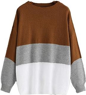 Women's Drop Shoulder Color Block Textured Jumper Casual Sweater Multicolor-9 2XL
