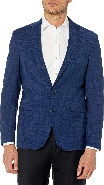 Cole Haan Men's Slim Fit Stretch Suit Separates-Custom Jacket & Pant Size Selection, Blue Plaid, 40R