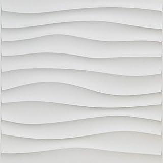 Art3d Lot de 12 Panneau Mural Motif Vogue 3D Blanc,3m² Dalle Murale Décorative Salon,Bureau,Chambre,50 x 50 cm