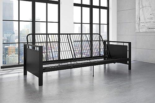 DHP Henley Metal Arm Futon Frame, Industrial Loft Design, Converts to Sleeper, Black Sturdy Metal