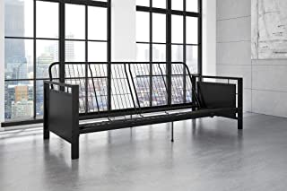 DHP Henley Metal Arm Futon Frame, Industrial Loft Design, Converts to Sleeper, Black Sturdy Metal
