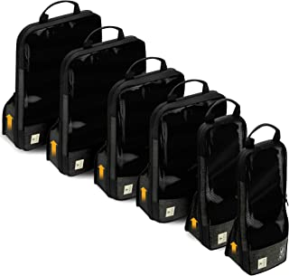 Compression Packing Cubes for Travel – Premium Set of 6 Luggage Organizer Bags (6 Set (2S+2M+2L) Black)