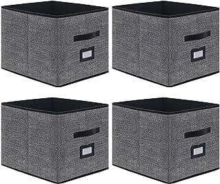 homyfort Lot de 4 Boîtes/Tiroirs en Tissu Cube de Rangement Pliable Coffre pour Linge, Jouets, Vêtement avec poignées en C...