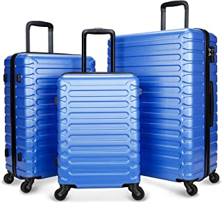 SHOWKOO Luggage Hardshell Expandable Clearance Lightweight Durable Spinner Wheels 3 Piece Set Suitcase with TSA Lock (Blue)