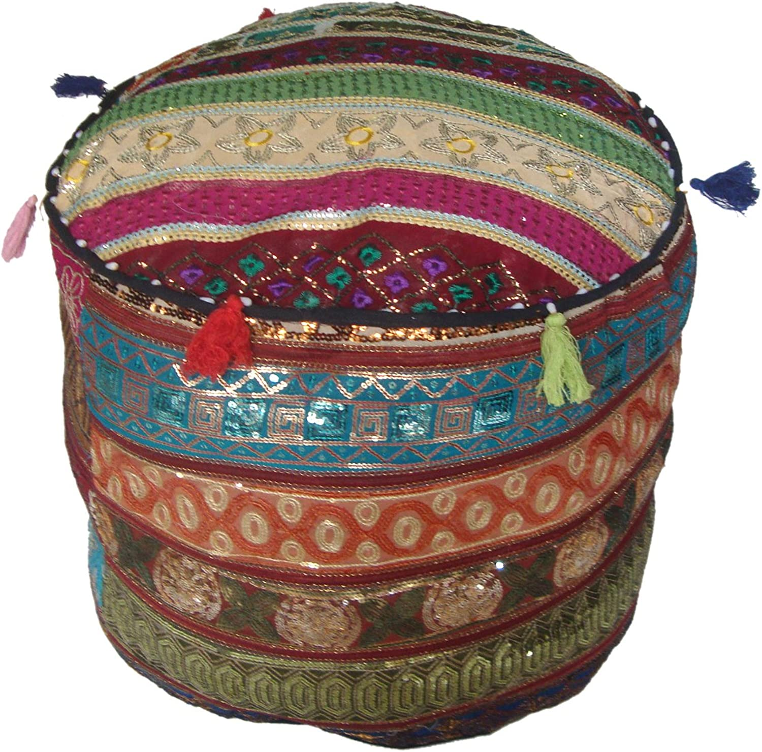 Elegant Recycled Assorted Sequins Patches Polycotton Empty Pouf Cover