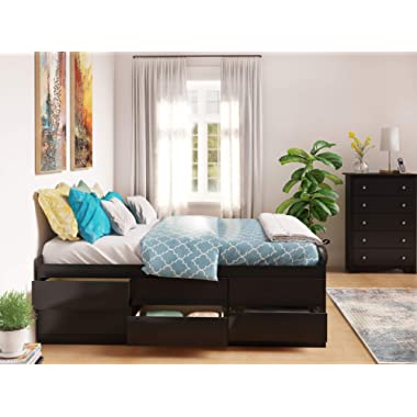 Prepac Captain's Platform Storage Bed with 12 Drawers, Queen, Black