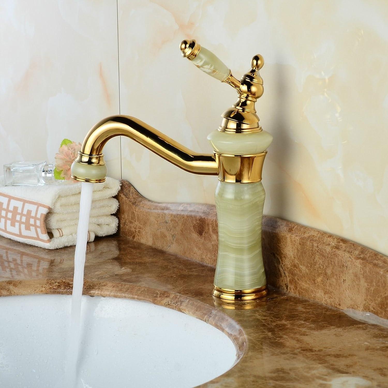 MNLMJ Moderne einfache kupferne heie und kalte Wasserhhne Küchenarmatur Gold Becken Jade Wasserhahn verGoldete antikeKupfer heier und kalter Wassermischer Geeignet für alle Badezimmer-