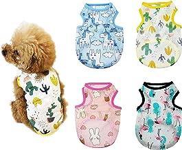 YAODHAOD Dog Clothes, Dog Cute Shirts,Dog Summer T-Shirt for Small Dog,Sun Protection Dog Shirt,Outfits Dog Apparel for Hawaiian Holiday 4 PCS