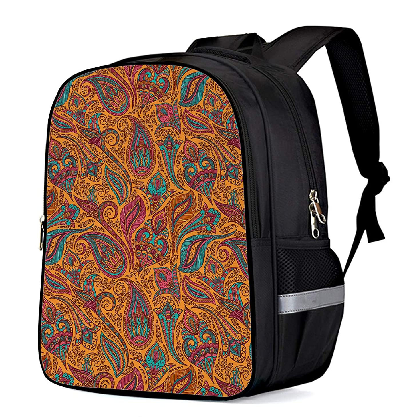 Water Resistant School Backpack, Traditional Indian Patterns Oxford 3D Print College Student Rucksack Daypack for School Camping Travel 33x28x16cm