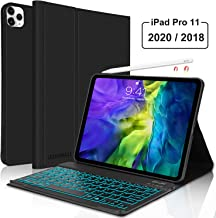 iPad Pro 11 Inch Keyboard Case 2nd Generation 2020/2018, Support iPad Pencil Charging, Blacklit Slim Folio Smart Case Wireless Bluetooth Keyboard for iPad Pro 11, Auto Sleep/Wake, Black