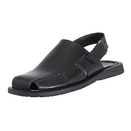 741127691047 Handmade Genuine Leather Dress Sandals for Men with Closed Toe and Strap On  The Heel