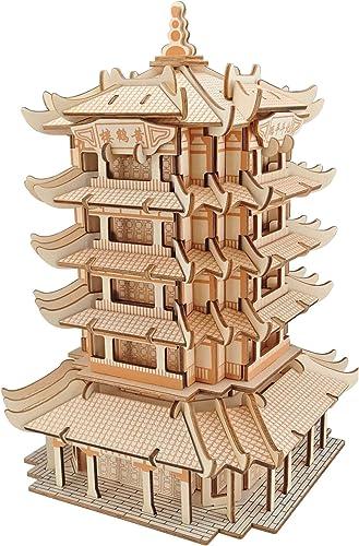barato y de alta calidad Rompecabezas Sinjicraft Artesanías 3D 3D 3D Madera Tridimensional Rompecabezas DIY Puzzle Scrabble Tablero amarillo Grúa Torre  solo para ti
