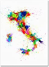 Italy Paint Splashes Map by Michael Tompsett work, 14 by 19-Inch Canvas Wall Art