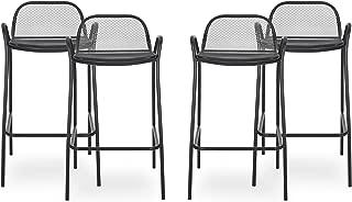 Great Deal Furniture Lisa Modern Iron Barstool (Set of 4), Matte Black