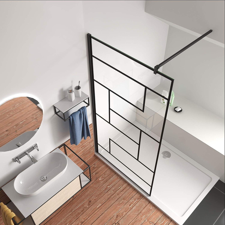 80x200cm Mamparas de Ducha Pantalla Panel Fijo estilo industrial negro Con Cuadrados Cristal Antical 8mm Barra 140cm