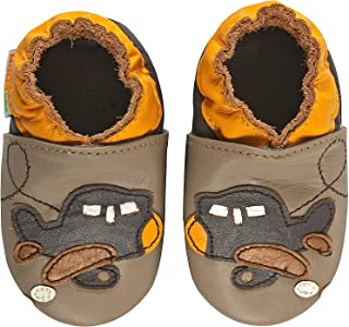 Momo Baby Boys Soft Sole Leather Shoes - Pirate (0-6 Months)