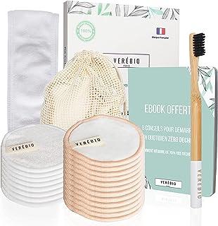 20 Pcs Coton Demaquillant Lavable Reutilisable, Lingettes Fibre de Bambou Bio + Brosse a Dent Bambou OFFERTE + Filet Lavag...