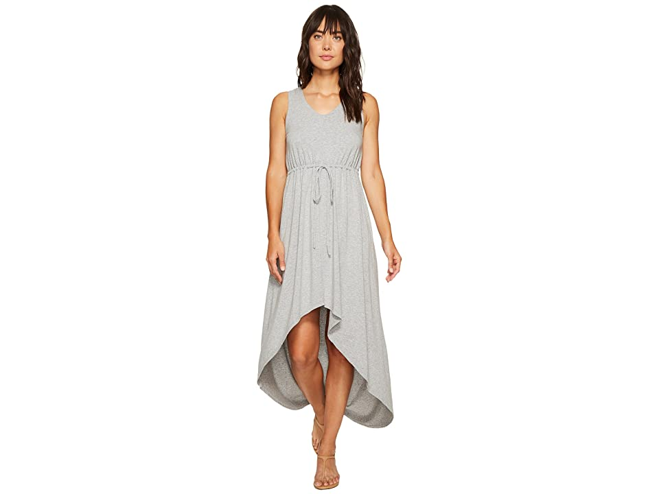 Mod-o-doc Cotton Modal Spandex Jersey Cinch Waist Hi-Low Hem Tank Dress (Smoke Heather) Women