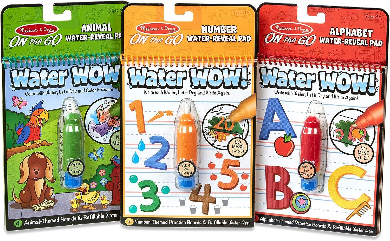 Amazon.com: Melissa & Doug On the Go Water Wow! Reusable Water-Reveal Activity Pads, 3-pk, Animals, Alphabet, Numbers : Melissa & Doug: Toys & Games