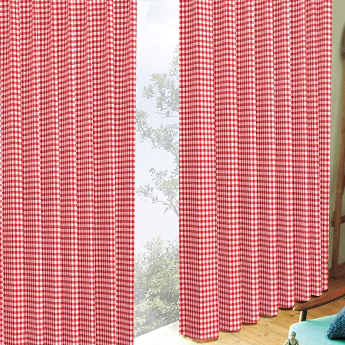 予防接種グラス超えて[カーテンくれない]ギンガムチェック遮光カーテン【節電 断熱対策】キュートなチェック柄遮光 ドレープ カーテン 形態安定加工 オーダー サイズ:幅200×丈205cm×2枚 色:レッド/Aフック
