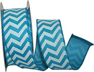 Reliant Ribbon 90815W-913-09H Chevron Crest Wired Edge Ribbon, 1-1/2 Inch X 20 Yards, Turquoise