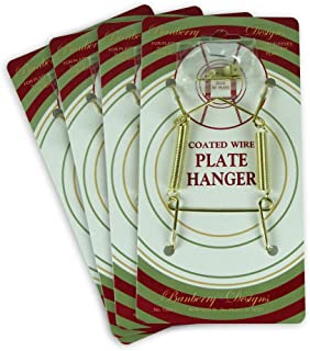 BANBERRY DESIGNS Brass Vinyl Coated Plate Hanger 3.5 to 5 Inch Plate Hanger Set of 4 Hangers - Includes Hanging Hook and Nail