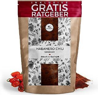 Habanero Chili Chilischoten gemahlen 100g I extrem scharfes Chilipulver inkl. gratis Ratgeber I hochwertige getrocknete Chillis scharfes Gewürz hot