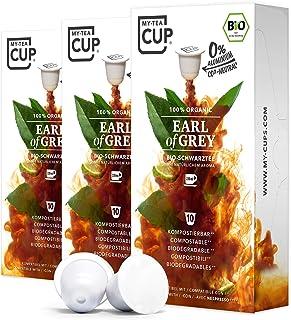 My Tea Cup - TEEKAPSELN EARL OF GREY 3 x 10 KAPSELN I BIO-SCHWARZTEE I 30 Kapseln für Nespresso³-Kapselmaschinen I 100% industriell kompostierbare & nachhaltige Teekapseln – 0% Aluminium