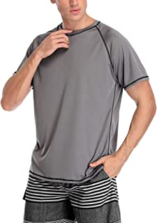 Mens Rashguard Short Sleeve UV Sun Protection Loose Fit Sufing Swim Shirt