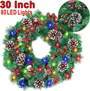 30 Inch Christmas Wreath with 80 Colorful Lights Snow Tipped 12 Pine 60 Red Berries 220 Branches, Xmas Wreath for Front Doors Home Walls Window Stairs Fireplace Decoration