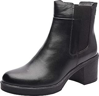 Tallis Women's Genuine Leather Chunky Heel Chelsea Booties with Mid-Heel, TPR Sole and Zip Closure