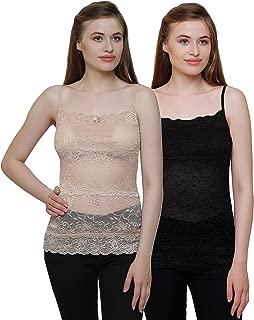 GRAPPLE DEALS Pack of 2 Elegant Full Net Floral Camisole Light Padded Vest Bralette Camisole for Women.