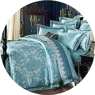 FanRen Luxury Jutecell Satin Jacquard Silk Bedding Set Cotton lace Tencel Satin Bed Sheet Set Bedclothes Queen/King Bed Cover 4/6pcs,13,King 6pcs
