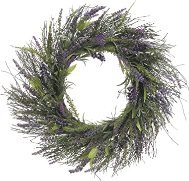 23 Inch Lavender and Wild Grasses Wreath On Twisted Vine Base