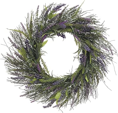 23 Inch Lavender and Wild Grasses Wreath On Twisted Vine Base, Artificial Lavender