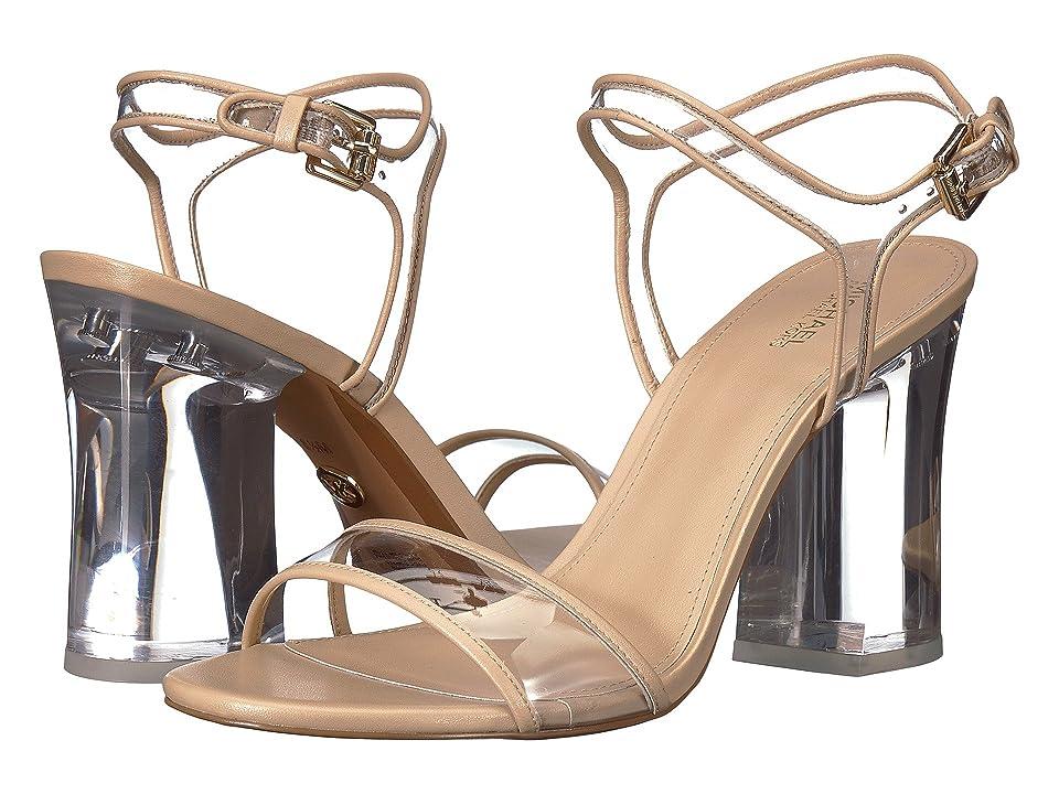 MICHAEL Michael Kors Tori Sandal (Oyster Vinyl/Nappa/Lucite Heel) High Heels